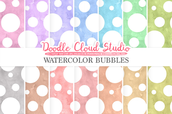 Watercolor Bubbles digital paper, Dotted pattern, Digital dots.
