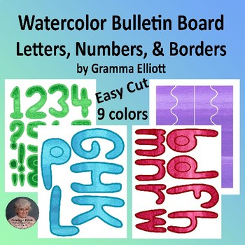 Watercolor Bulletin Board Letters, Numbers, and Backgrounds Easy Print and Cut