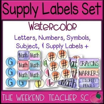 Watercolor Bulletin Board / Subject / Supply Headings Set