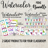 Watercolor Bundle! Welcome Banner and Tags for Cubbies and