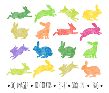Watercolor Bunnies Clipart. Easter Bunny Clip Art Silhouettes - 30 PNGs.