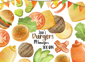 Watercolor Burgers Clipart