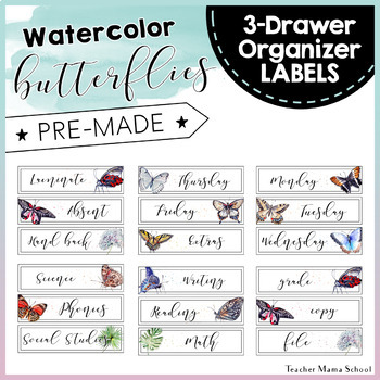 Watercolor Butterflies Theme Sterilite 3-Drawer Labels { EDITABLE }