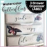 Watercolor Butterflies Theme Sterilite 3-Drawer Labels { E