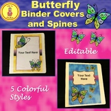 Watercolor Butterfly Decor Binder Covers and Spines Editable