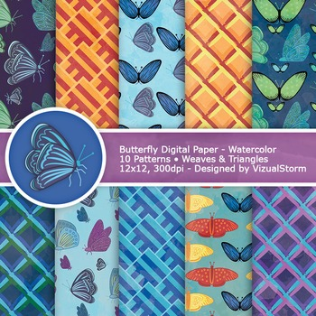 Watercolor Butterfly Digital Papers, Colorful Printable Butterflies
