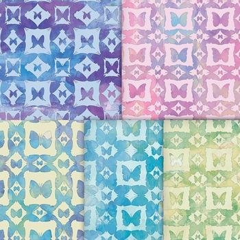 Watercolor Butterfly Garden Digital Papers, Printable Flower Garden Backgrounds