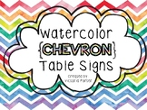 Watercolor CHEVRON Table Signs