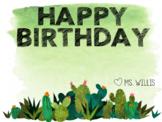 Watercolor Cactus Birthday Sign Editable