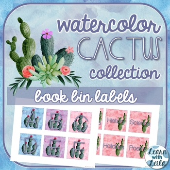 Watercolor Cactus Decor Book Bin Labels