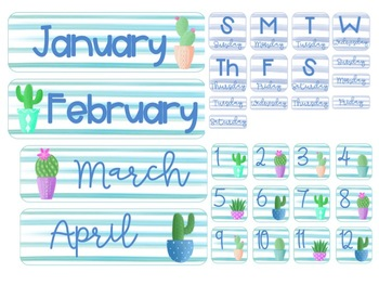 Watercolor Cactus Calendar Set