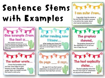 Watercolor Cactus Citing Text Evidence Posters