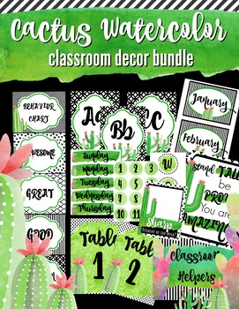 Watercolor Cactus Classroom Decor BUNDLE- Green & Classy (105 pages)