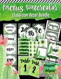 Watercolor Cactus Classroom Decor BUNDLE- Green & Classy (