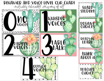 Watercolor Cactus   Classroom Decor Set