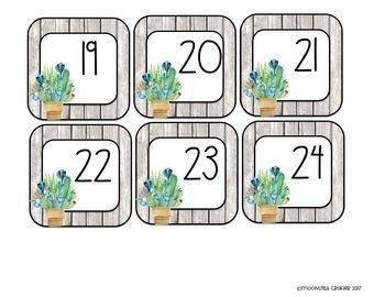Watercolor Cactus Classroom Decor Set One