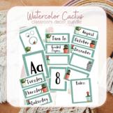 Watercolor Cactus Classroom Decorations Bundle
