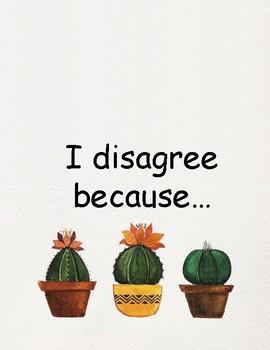 Watercolor Cactus Classroom Talk Sentence Prompts