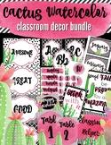 Watercolor Cactus Classroom decor BUNDLE in Classy Pink