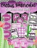 Watercolor Cactus Classroom decor BUNDLE in Classy Purple
