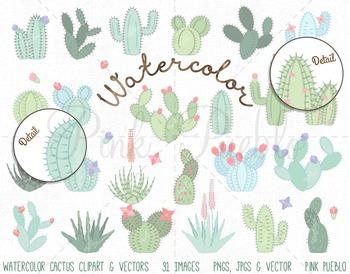 Watercolor Cactus Clipart, Cactus Clip Art, Watercolor Succulent Clipart