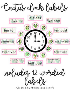 Watercolor Cactus Clock Labels