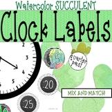 Watercolor Cactus Clock Labels: Succulent and Cactus Classroom Theme Decor