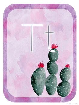 Watercolor Cactus Decor Alphabet Letters