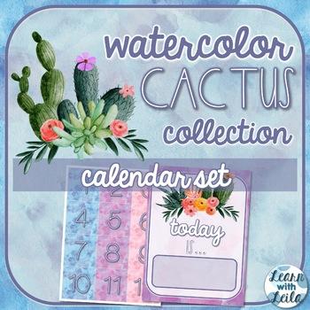 Watercolor Cactus Decor Calendar Set