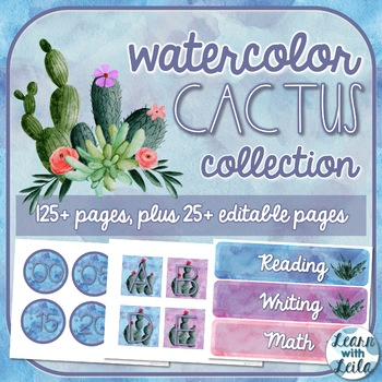 Watercolor Cactus Decor Collection