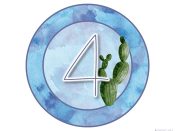 Watercolor Cactus Decor Table Numbers