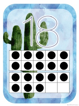 Watercolor Cactus Decor Ten Frames