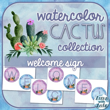 Watercolor Cactus Decor Welcome Sign