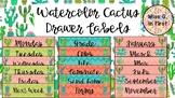 Watercolor Cactus Drawer Labels
