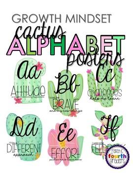 Watercolor Cactus Growth Mindset Quotes - Cursive Alphabet Line Poster Set