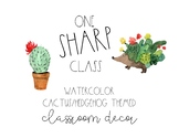 Watercolor Cactus & Hedgehog Classroom Decor Bundle