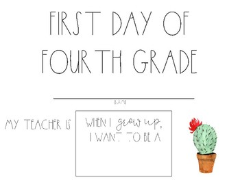 Watercolor Cactus & Hedgehog First Day of School Signs