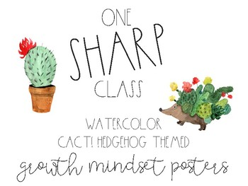 Watercolor Cactus & Hedgehog Mindset Posters