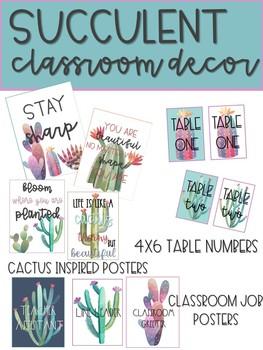 Watercolor Cactus Inspired Classroom Decor