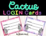 Watercolor Cactus Login Cards