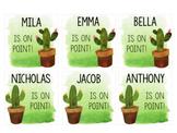 Watercolor Cactus Name Tags Editable