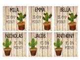Rustic Wood Cactus Name Tags Editable