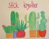Watercolor Cactus Poster - Stick Together