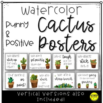 Watercolor Cactus Posters | Positive Growth Mindset