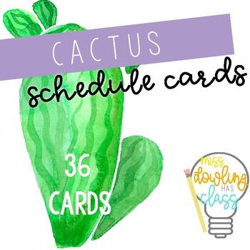 Watercolor Cactus Schedule Cards