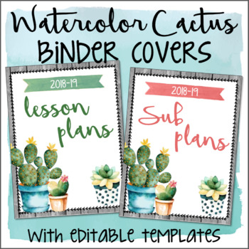 Watercolor Cactus Succulents EDITABLE Binder Covers