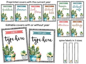Watercolor Succulents Cactus Binder Covers EDITABLE #flamingofriday
