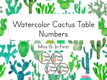 Watercolor Cactus Table Numbers (Free!)