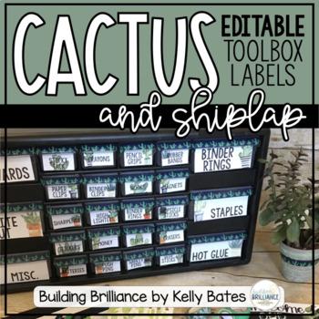 Watercolor Cactus Teacher Toolbox Labels (EDITABLE!)