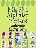 Watercolor Cactus Theme Alphabet Posters